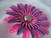 American 1960's  Flower Brooch in Hot Pink, Mauve and Dusty Pink